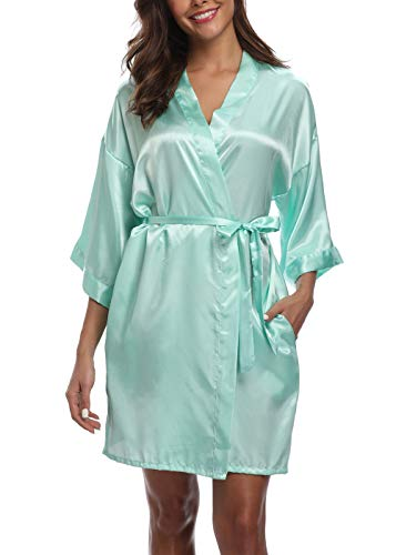 Old-Times Women's Pure Color Silk Kimono Short Robes for Bridesmaids and Bride Mint Green ()