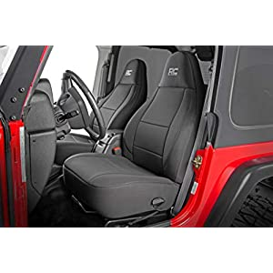 Rough Country Neoprene Seat Covers | (fits) 1997-2002 [ Jeep ] Wrangler TJ | 1st/2nd Row/Water Resistant | Black | 91000