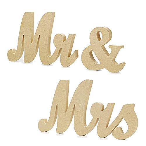 Cynzia Wooden Mr & Mrs Letters Sign Wedding Decor Vintage Style Table Decor for Wedding Gift, Photo Props,Party Table,Top Dinner,Rustic Wedding Decorations (Mr And Mrs Letters For Top Table)