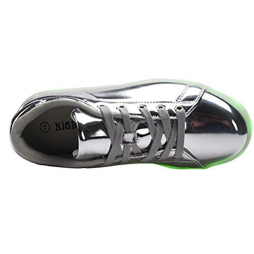 COODO - Zapatillas de running para mujer plateado