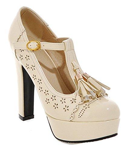 YE Damen T-Spangen Blockabsatz Riemchen Retro High Heels Plateau Pumps mit Fransen und Schnalle 12cm Absatz Schuhe Beige