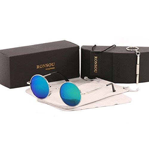 Ronsou Lennon Style Vintage Round Polarized Sunglasses Eyewear with Mirrored or Plain Lens silver frame/green blue - Green Sunglasses Blue Lenses Or