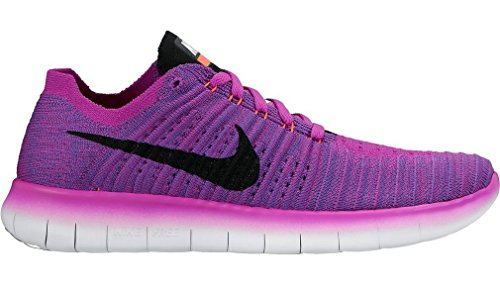 Nike Women's Free Running Motion Flyknit Shoes, Hyper Violet/Total Crimson/Laser Orange/Black - 9.5 B(M) US