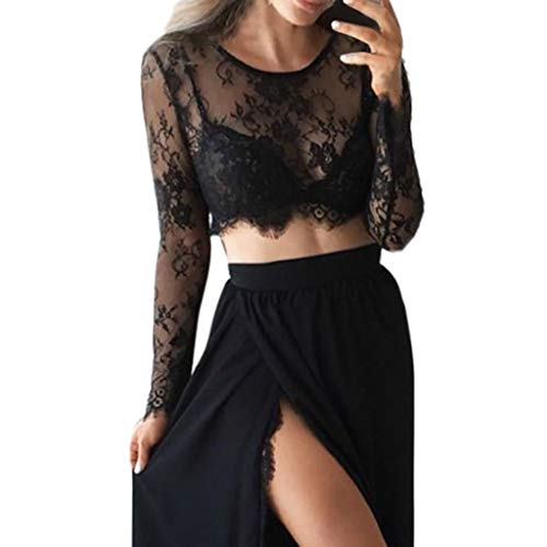 Women Mesh Sheer Blouse, Leadmall Fashion Slim Fit Lace Crop Tops Long Sleeve Elegant Tee Shirt (S, Black)