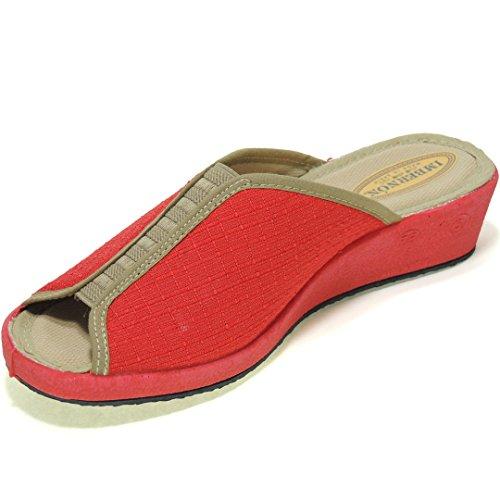 IMBERNON - Zapatilla Pinki de Casa Cuña 4 Cm Con Elástico - Modelo 612-3 Rojo