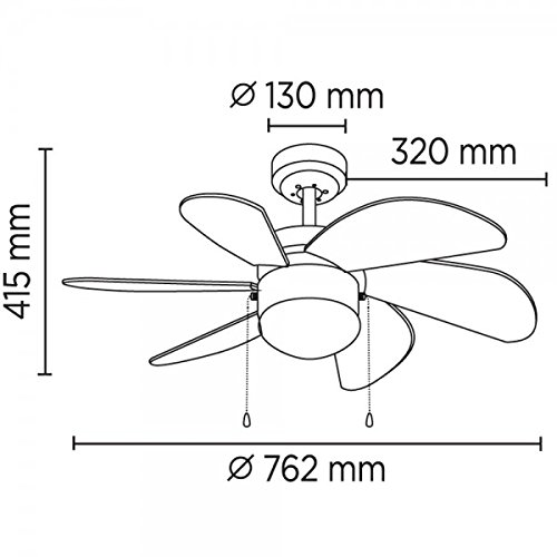 15 W 76.2 x 76.2 x 41.5 cm Wonderlamp Basic Ventilador De Techo E27 Multicolor
