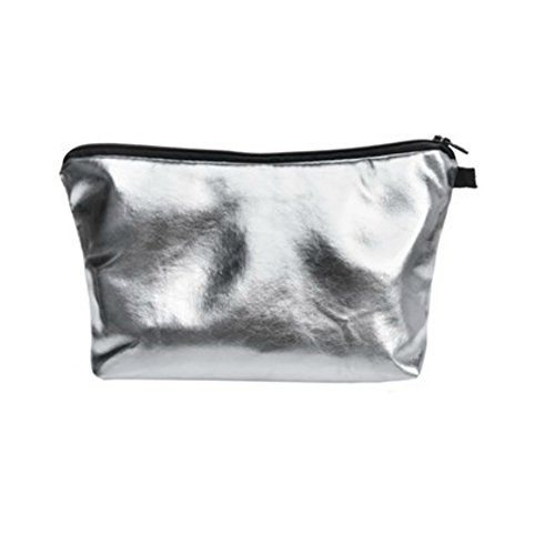 Silver Shiny Faux Leather Cosmetic and Makeup Bag (Polyurethane) For Kids, Teens, & Adults! Perfect for Cosmetics, School, Toiletries, & More 9 in. x 5 - Designer $5 Sunglasses