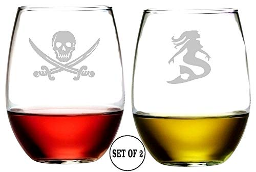 Pirate and Mermaid Stemless Wine Glasses | Etched Engraved | Perfect Fun Handmade Present for Everyone | Lead Free | Dishwasher Safe | Set of 2 | 4.25″ High x 3.5″ Wide | (16 Ounces)