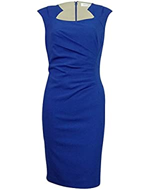 Calvin Klein Women's Plus Ruched Cap-Sleeve Sheath Dress Blue 14W