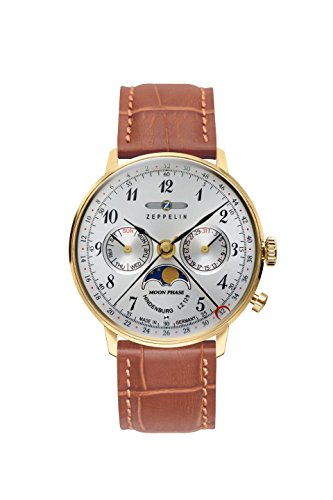 Zeppelin Series LZ129 Hindenburg Multifunction Unisex Day/Date Moon Phase Analog Watch Goldtone and Brown 7039-1