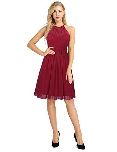 Beliebt Bevorzugt Tiaobug Damen Kleid Festlich Elegant Vintage Neckholder Partykleid @LD_71