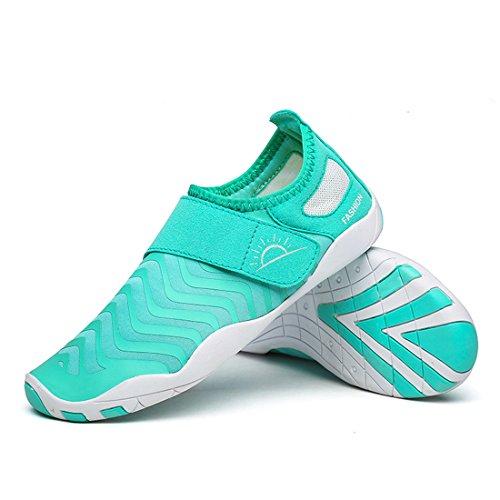 Cool&D Aquaschuhe Aqua Schuhe Wasserschuhe Fitness Schuhe Atmungsaktiv Strandschuhe Schwimmschuhe Badeschuhe Surfschuhe für Damen Herren Kinder Hellblau
