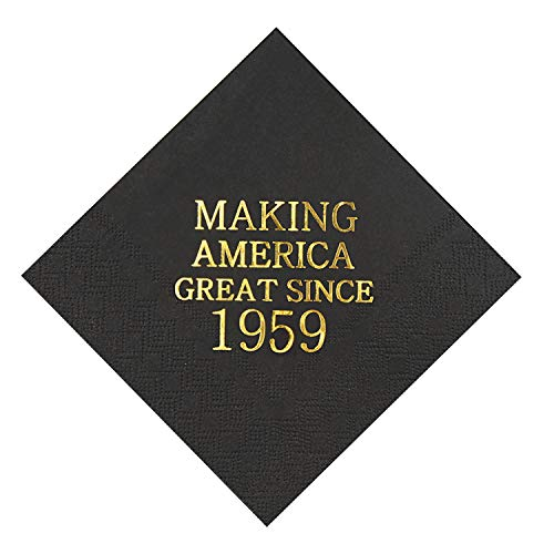"""Veronica 60th Birthday Black and Gold Cocktail Napkins Making America Great Since 1959 Decoration Party Supplies 50 Pack 4.9""""x 4.9"""" Party Napkins"""