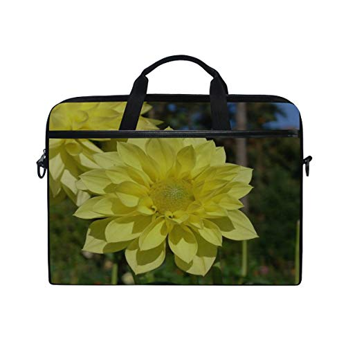 1834 Notebook - Rh Studio Laptop Bag with Shoulder Strap Handle Dahlias Flowers Yellow Close Up Messenger Bag Case Sleeve for 14 to 15.6 Inch with Adjustable Notebook Shoulder Strap
