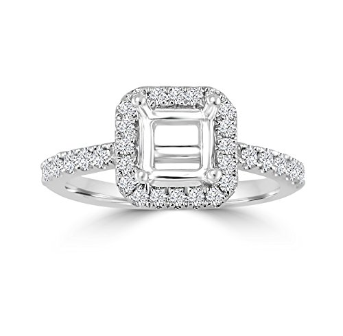 Samaya Jewels 14k Gold 1/2ct Diamond Semi Mount Square Halo Engagement Ring Fits 1.00ct - Pave Semi Mount Ring