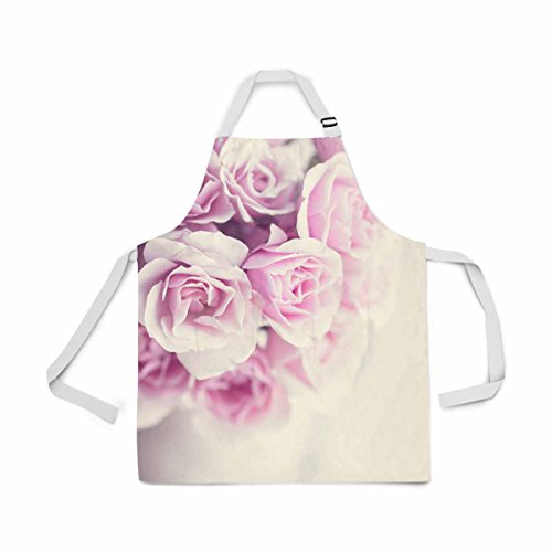 InterestPrint Pastel Roses Adjustable Bib Apron for Women Men Girls Chef with Pockets, Novelty Kitchen Apron for Cooking Baking Gardening Pet Grooming Cleaning