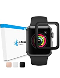 [Exclusive to Series 3] Apple Watch Screen Protector, AUNEOS Apple Watch 42MM Series 3 Screen Protector [Self -Absorbing] Full Coverage Tempered Glass Cover for Apple Watch Series 3 (42mm, Black)