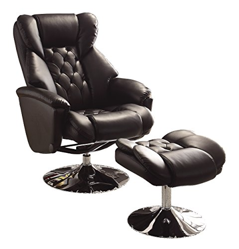 Homelegance 8548BLK-1 Swivel Reclining Chair with Ottoman, Black Bonded Leather Match ()