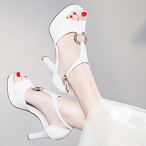 Eau Magasin Summer Chaussures Exercice white De Rude Poisson Bouche Hauts 9Cm De Talons Sandales L'Imperméabilisation Sexy Mot Des KPHY Talon Buckle Nuit 0vwtqZw