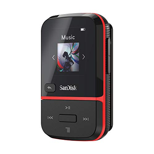 SanDisk 32GB Clip Sport Go MP3 Player, Red - LED Screen and FM Radio - SDMX30-032G-G46R