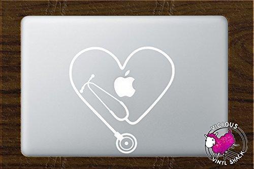 Stethoscope Heart Cutout (WHITE) Vinyl Decal Stickers for MacBook Laptop Car Nursing Tough Strength Strong Strength Hope Inspiration Love Doctor Nurse Veterinarian Health Medicine Hospital Med School