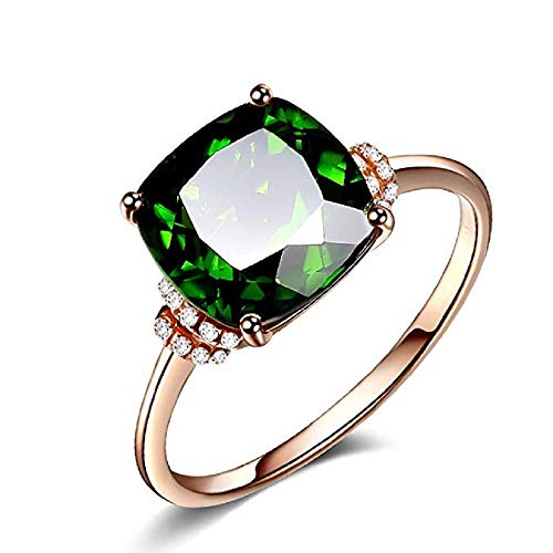 WYS 18K Rose Gold Plating Luxury Square Emerald Green Gemstone Excellent Cut Cubic Zirconia CZ Wedding Engagement Ring Size 6-10 (Size: 8)