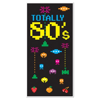 TOTALLY 80's EIGHTIES Party DOOR COVER/Banner/DECOR/DECORATIONS 30