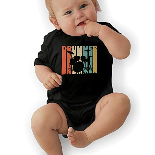 Short Sleeve Cotton Rompers for Unisex Baby, Soft Retro Style Drummer Silhouette Onesies Black ()