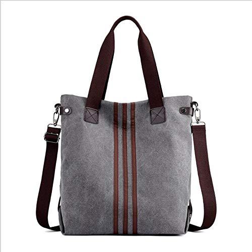 Blue Large Shopping Hobo Shoulder Bag Top Canvas Tote Bag Grey Handle Handbag TvCxxpwq