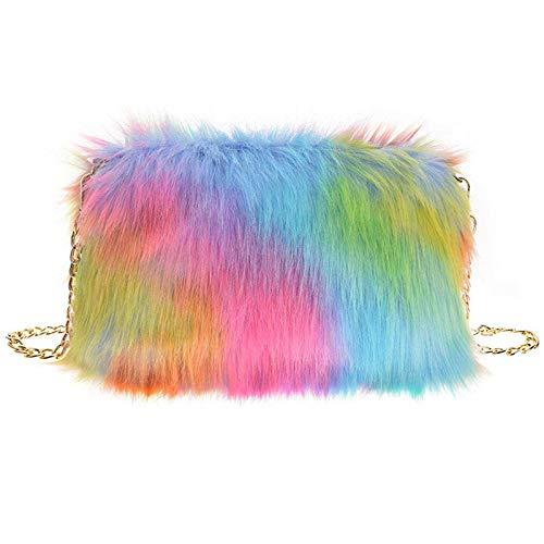 FHQHTH Faux Fur Purse Fuzzy Shoulder Bags Handbag For Women Purse Aluminum Chain Shoulder Strap ()