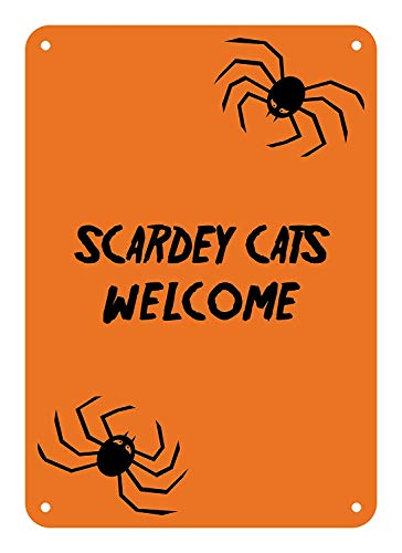 Decoration Plaque Sign Halloween Sign Scaredy Cats Welcome