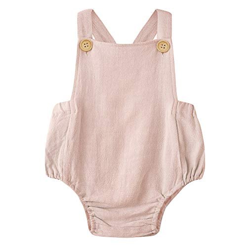 Simplee Kids Pink Linen Romper Baby Girl Solid Onesies Baby Girl Summer Size 6 Months ()