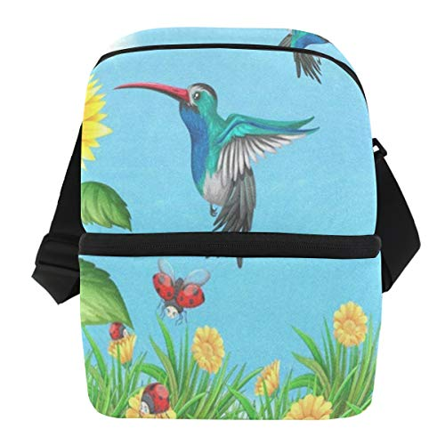 Hummingbird Golf (Lunch Bag Hummingbirds Flying Sunflower Insulated Cooler Bag Mens Leakproof Lunch Organizer Zipper Tote Bags for Golf)