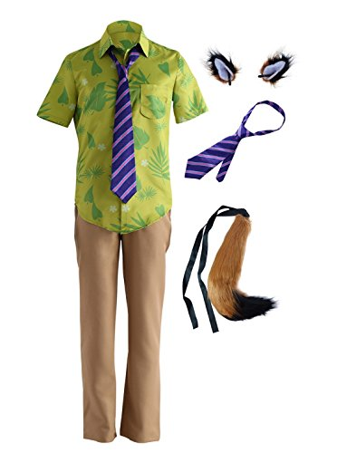 DAZCOS Adult US Size Fox Nick Wilde Cosplay Costume with Tie Ears Tail