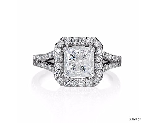 SOLITAIRE 3 CT BRILLIANT CUT D/VVS PRINCESS ROUND CUT DIAMOND SOLID 14K WHITE GOLD ENGAGEMENT WEDDING BRIDAL ANNIVERSARY LOVE RING, ALL US SIZE 4 TO 12 (3ct Brilliant Solitaire)