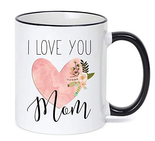 Mug Mom Love - Mom Mug/Mother's Day Gift Mom Heart Coffee Cup I Love You Floral Cute Mug Gifts Under $20