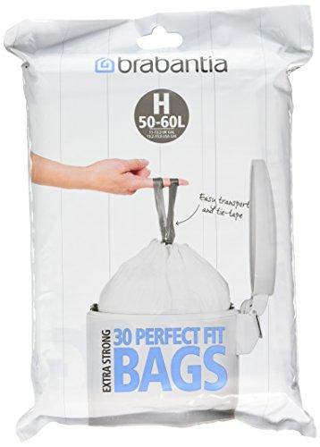 Brabantia Dispenser Pack of Bin Liners/Trash Bags, Size/Code H, 50-60 Litre, 30 Bags, 375705 (Brabantia Garbage Bags)