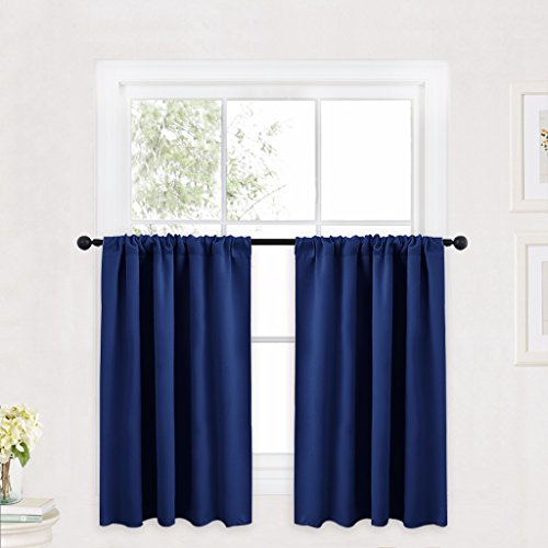 RYB HOME Kitchen Curtains 36 inch Long for Small Window Treatment Valances, Rod Pocket Short Drapes for Bedroom, Half Window Tiers for Kids Room/Nursery, W 42 x L 36 in per Panel,Navy Blue, 2 Pcs