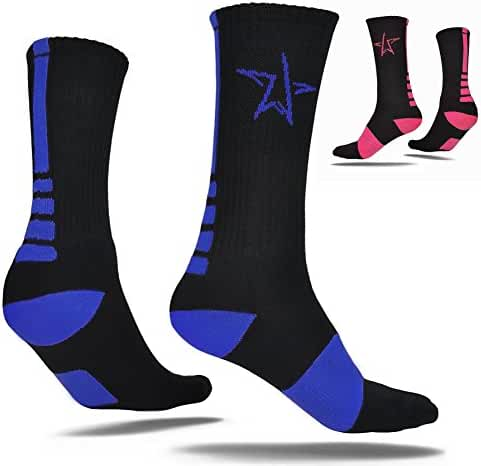 Lacrosse Socks By LAX Stars - Top Quality Elite Dri-Fit Socks For Men, Women, Teens, and Youth - Perfect For Sports, Casual & Every Day Use - Black/Blue or Black/Pink Color Variations