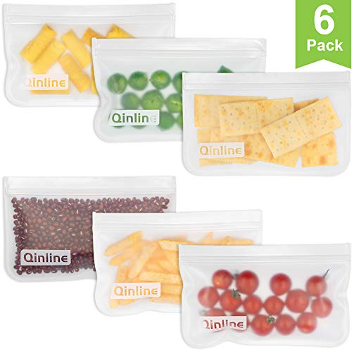 - Reusable Snack Bags 6 Pack Leak Proof Freezer Bags EXTRA THICK Reusable Storage Bags & Easy Seal Ziplock Sandwich Bags for Kid Lunch Dry Snacks (Cereal, Nuts, Chips, Etc) Smaller Fruits & Veggies
