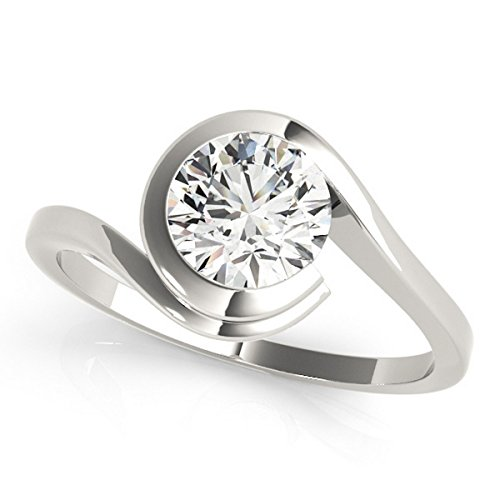 Women's Brilliant Round-Cut Solitaire Tension Set Diamond Engagement Ring Palladium - Ring Diamond Tension Round Brilliant