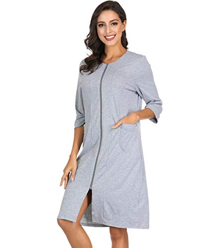 Womens Relaxed Fit Zip-Front Cotton Robe Zipper Bathrobe Grey L