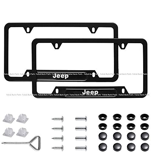 cargogogo 2pcs Stainless Steel License Frame with for Jeep,with Screw Caps Cover Set-Black (Jeep)