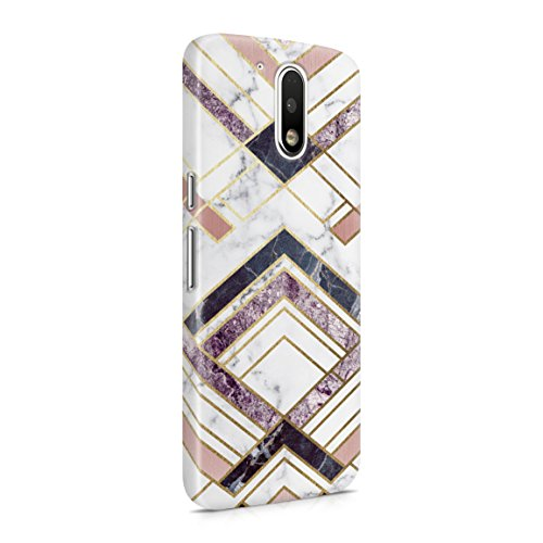 (Rough Amethyst & Sapphire Marble Stone Lines Hard Plastic Phone Case For Motorola Moto G4 Plus)