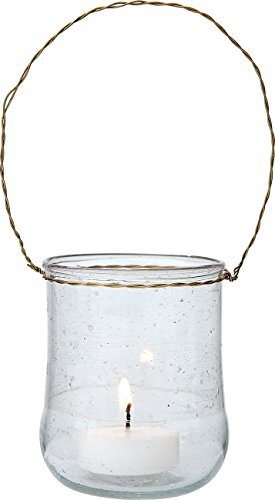 Hanging Recycled Glass (Luna Bazaar Hanging Recycled Glass Candle Holder (2.5-Inch, Sand Piper Design, Clear) - For Use with Tea Lights - For Home Decor, Parties, and Wedding Decorations)