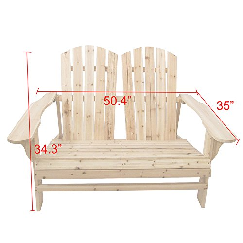 Home Yard Outdoor Living Leisure Fir Wood Double Recliner Seat, 50.4''× 35''× 34.3'' by Sonmer (Image #4)