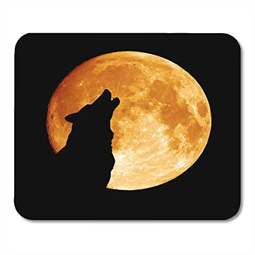 Gaming Mouse Pad Gray Full Wolf Howling at The Moon in Midnigt Halloween Silhouette Dog Head Pack Eye 7.18.7 Inches Decor Office Computer Accessories Nonslip Rubber Backing Mousepad Mouse Mat -
