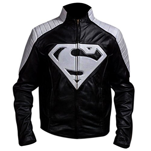 Leather Icon Cosplay Superman Black and Grey Jacket (Black Superman Cosplay)