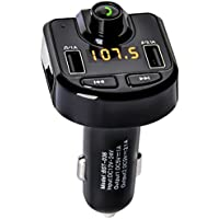Bluetooth FM Transmitter, Somate Wireless In-Car Radio Transmitter Adapter Car Kit w/ Hands-Free Calling/ Dual USB Car Charger 5V/3.1A & 1A , MP3 Player Support TF Card USB Flash Drive