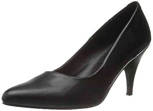 Pleaser Women's 420/B/PU Dress Pump,Black Polyurethane,8 M US - Black Signature Leather Spike